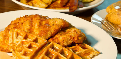 lowcountryhighrollers:  charlestoncitypaper:  Early Bird Diner's chicken and waffles. Enough said. Or if it's not enough, read our review.  Pre-bout rituals; Spaghetto Fabulous always eats chocolate chip pancakes before a bout.  Ringo Starrdust and Doutaz Mania eat chicken and waffles…… more than three times a week.  The Lowcountry Highrollers love Early Bird!  That's me!!!