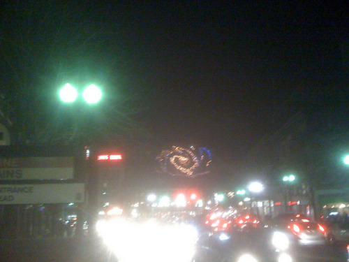 Here's a snap of a light installation in Harvard Sq.  My lady asked what it was, and since I had Thanksgiving on the brain, I thought the obvious answer was Space Turkey.  I don't think it's actually anything though.