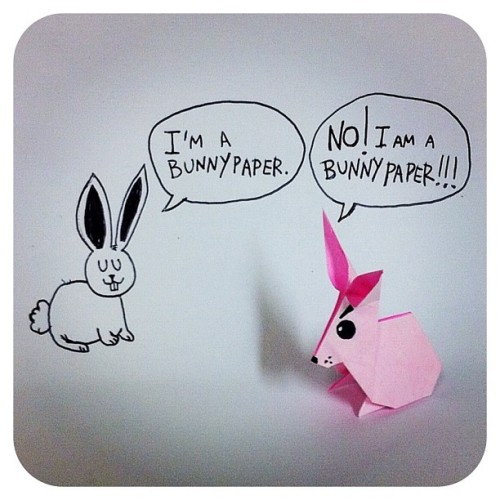 "🐰 BUNNY PAPER 🐰 Just some random silly stuff ☺ it sounds like ""family"" to me. #origami #bunny #rabbit #doodle #drawing #comic #funny #cute #paper #instorigami #instamood (Taken with instagram)"