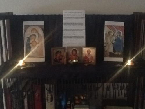 "I changed my altar today for advent. I changed the ""altar cloth"" from white to blue and added my prayers of the people along with icons of the holy family and the annunciation. (Happy Advent!)"