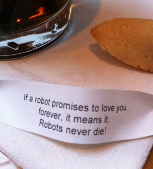 Robot Fortune Cookie  The robot who wrote this was immediately destroyed.