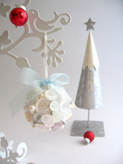 Christmas Ornaments / Christmas Decorations - Button Bauble in White/Cream with blue organza bow - Gift under 20