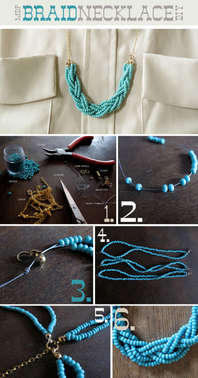 tutorializer:  Beaded & Braided Necklace - DIY Tutorial (via More Design Please - MoreDesignPlease - DIY Braided Necklace)