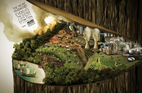 """The more mankind evolves, the closer it gets its extinction. 2011 - year of rainforest protection."" Advertising Agency: Staff, Rio de Janeiro, Brazil Creative Director: Paulo Castro Head of Art: Bernardo Machado Art Directors: Felipe Menezes, Henrique Parada Copywriter: Maicon Silveira Illustrator: Otávio Rios Published: November 2011"