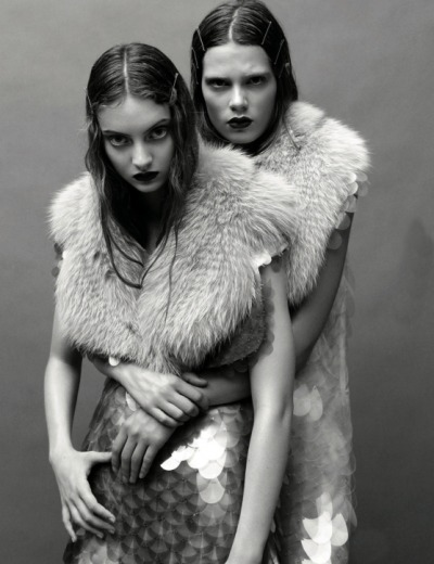 moldavia:  Codie Young and Caroline Brasch Nielsen in AnOther Magazine F/W 2011 by Daniel Jackson