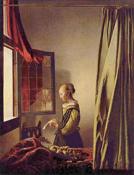 Jonannes Vermeer, Girl Reading a Letter at an Open Window, 1658 Vermeer, a Dutch painter, was mostly known for his interiors and exquisite details. He worked from his house a lot, which provided the backdrop to a great many of his works, like this one. His use of rich pigments also is prominent in most of his works.  I love Vermeer. I love how every painting of his makes beautiful use of light, and this one is no different. The light streaming in through the window is truly beautiful. I'm always inspired to imagine a backstory to this panting, like that she is reading a letter from a faraway lover.