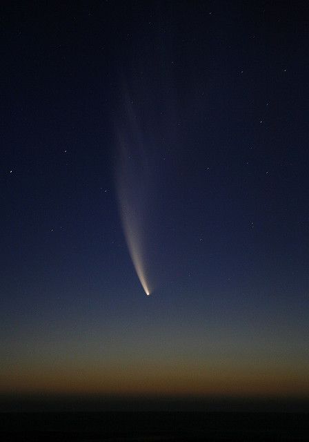 spacettf:  Comet McNaught by Capelight on Flickr. Via Flickr: Consisting largly of frozen water and dust particles, Comet McNaught is an astonishing sight. The bright head and gracefully curved tail is clearly distinguishable to the naked eye.Photographed on the southern Cape coast at Onrus 20 January 2007.