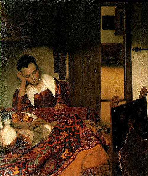 "Johannes Vermeer, A Woman Asleep, 1656 One of the most peaceful scenes I've ever seen. She just seems so perfectly situated.  Dutch painters were some of the first to popularize ""genre paintings,"" or scenes of everyday life. There doesn't really need to be a narrative, or any religious, intellectual or mythological content."