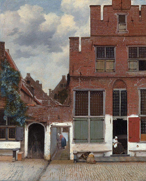 "Johannes Vermeer, The Little Street, 1657 A view of the houses in Delft, the town where Vermeer was born, lived and died. The most notable thing about this painting is the use of ""keyhole"" views, or being able to see through a little hole to a scene behind it. This frames the composition and kind of makes it more complex."