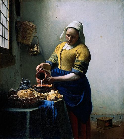 Johannes Vermeer, The Milkmaid, 1660 This traditional-looking scene of a housemaid (the title is kind of misleading) seems very simple when you first look at it. But look again. The way the light hits the woman, a sense of heaviness is achieved, and her downward face, half covered in a shadow is incredibly hard to decipher. Is she concentrated on her task? Is she wistful? Bored? The way you can't  really make out her emotions has always fascinated me.
