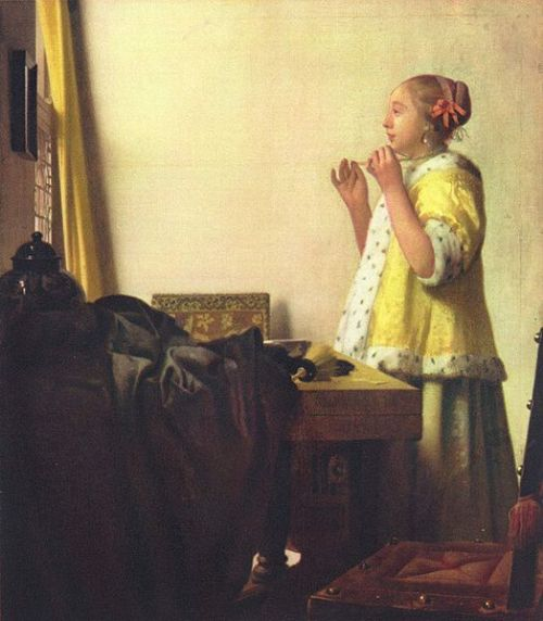 Johannes Vermeer, Girl With a Pearl Necklace, 1660-1665 Another very peaceful, very Dutch scene.