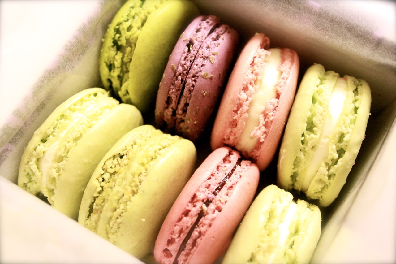 The holy grail of sugary treats: a jewel-like box of macarons from Laduree on the Rue Royale, Paris