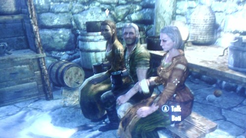 These three lovely characters we all related to the same quest, and I had to go back and forth between them telling each other what they said. I believe they call that the cold shoulder.