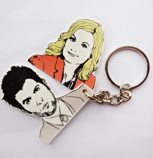 And there you have it, Pawnee's First Couple keychain ♥ We just put it up in our store here