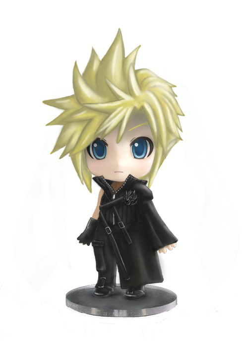Fan Art Nendoroid Cloud Strife FF7 Advent Children VerI'd buy this even if it is exlcusive/limited!!!nendoroids:  Boceto nendoroid de un fan que quiere que Cloud Strife con su traje de Final Fantasy 7 advent children tenga nendoroid.