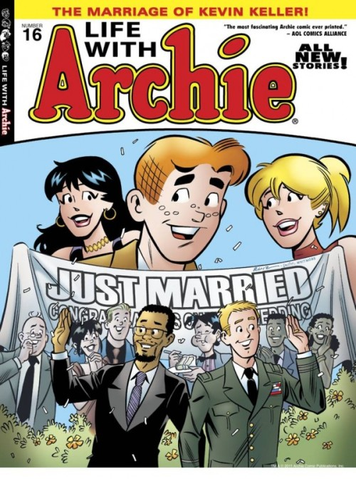 thedailywhat:  Historic Comic Cover of the Day: After introducing its first openly gay character in September 2010, Archie Comics continues to lead the pack with the mainstream comic book world's first same-sex marriage. Kevin Keller will marry his military sweetheart, Clay, in an upcoming issue of Life with Archie. The character is also set to star in a pioneering solo title starting this February. An interracial same-sex marriage between two soldiers in an Archie comic? The times are no longer a-changin', they are a-changed. [bleedingcool.]  WHAT. RAD.