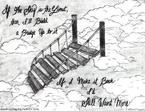 If the sky is the limit,then I'll build a bridge up to it.If I make it back,I'd still want more. -D.R.U.G.S.