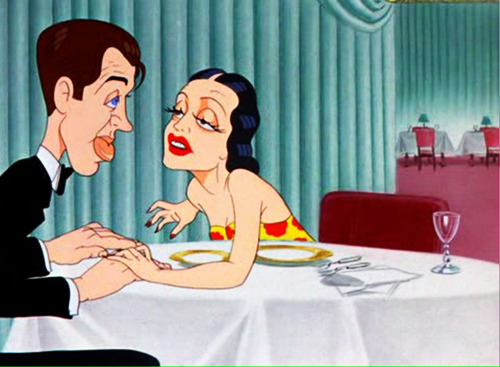 vintagegal:  Jimmy Stewart and Dorothy Lamour in the cartoon Hollywood Steps Out (1941)