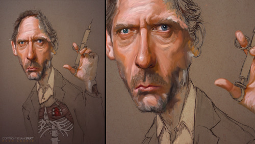 """House MD (2010)"" - Portrait Painting by Sam Spratt This is a much older rough piece I realized I never shared on here so I thought I would drop it here for you all. I used to be much more into caricature and leaving my line work around.   Follow my: portfolio website,  tumblr,  facebook artist's page and twitter."