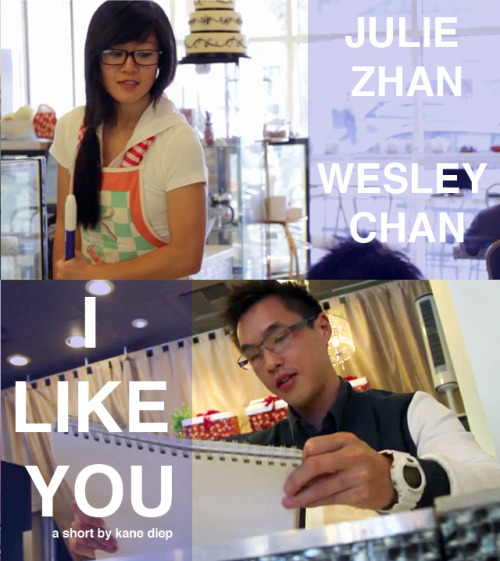 Promo Pic #2 for a new short I LIKE YOU starring Julie Zhan and Wesley Chan is coming out on THANKSGIVING DAY! Special appearance by David Choi. The short will premiering at I FEEL WIGGLY. Directed by Kane Diep and Produced by Farah Moriah.