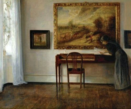Carl Holsoe Interior with Painting Late 19th - early 20th century