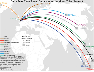 How far can the Tube take you? (total distance covered by the Tube rolling stock at peak times, Transport for London) via Spatial Analysis
