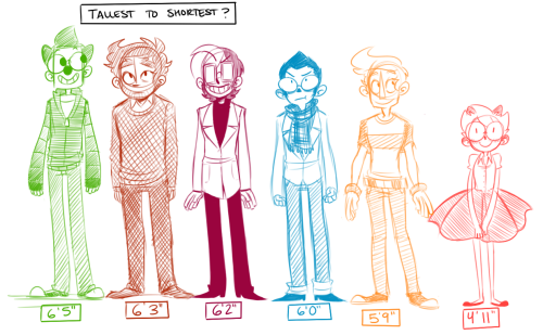 One of the Q and A responses I never posted! Here's a little height chart of some of the characters in Monsterkind! Tallest to shortest is: Roy G. Biv, Benjamin Baker, Eno, Kip Kaizer, Wally Foster, and Molly Monday.