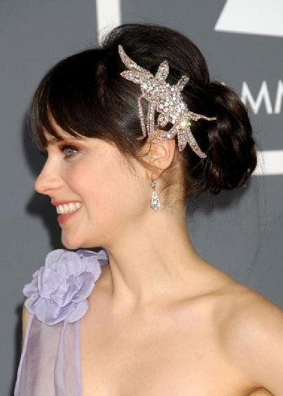 zooey deschanel crystal hairpiece