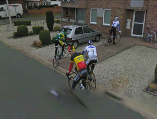 Tom Boonen captured by Google StreetView. Road.cc have been sleuthing to identify the other riders while Het Nieuwsblad declare them to be visiting Johan Vansummeren's house.