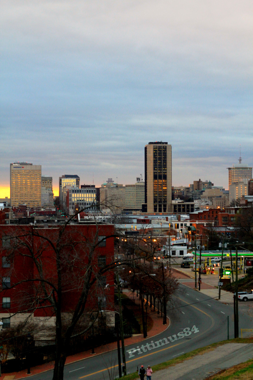 Angled View of Main st from Libby Hill Park on ThanksGiving Eve.