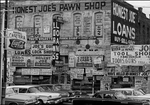 mpdrolet:  Honest Joe's Pawn Broker's shop, Houston, 1963 Thomas Hoepker
