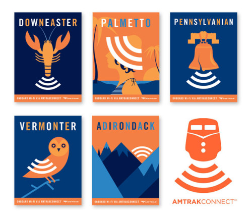 curiositycounts:  Clever, beautiful posters for Amtrak's new AmtrakConnect wifi program