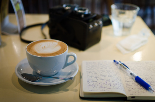 #438: Note taking, coffee drinking, picture taking.
