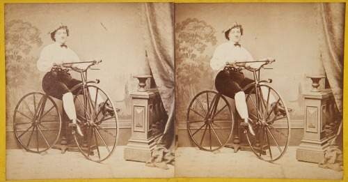 Woman astride a velocipede, c1870. Stereogram: Geo. W. Thorne, New York.