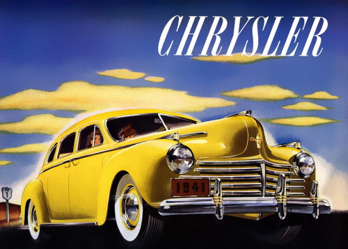 Bright car, dark days ahead. 1941 Chrysler via Plan 59. -R.