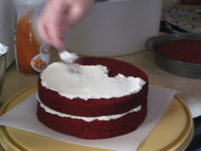 Yep. Action shot of frosting. Red velvet cake is one of the most treasured (and tasty) Trenkle/Binder family traditions. You know it's a pretty special occasion when those delicious layers make an appearance. This time, it's because today is Thanksgiving and tomorrow is my dad's 50th birthday.  So many good things. So much to be thankful for.