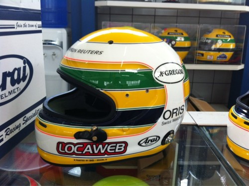 Rubens Barrichello's helmet for the 2011 Brazilian Grand Prix - A tribute to his late hero and fellow Brazilian, Ayrton Senna.
