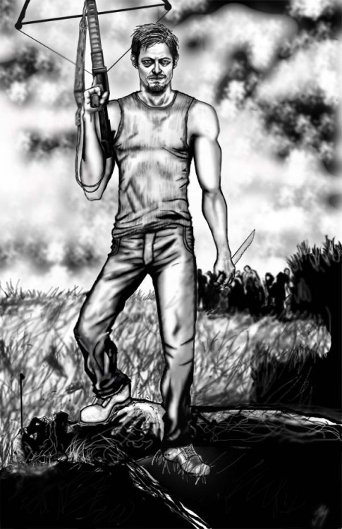 Some art of The WALKING DEAD's Daryl Dixon played by Norman Reedus. I had fun, but the crossbow was a major headache. Also the background was inspired by some season 2 promo shots. I copied it because it looked a lot better than what I was coming up with. I almost didn't even give it a background!