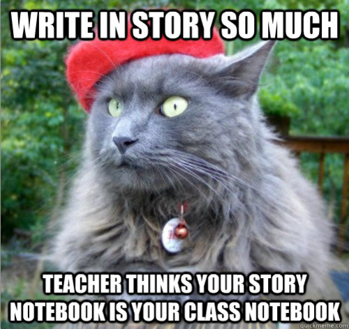 Teacher thinks story notebook is class notebook. Submitted by licoriceplease.