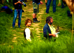 faramirs:   Martin Freeman and Peter Jackson on the set of The Hobbit.