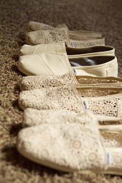 onlythursdays:  TOMS for bride and bridesmaids