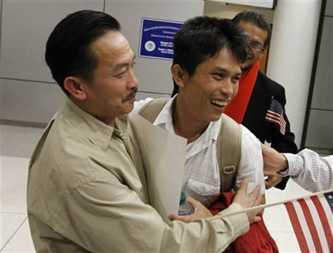 "wow. read this. Refugee in NY reunites with son after 34 years  ROCHESTER, N.Y. — A Vietnamese war refugee who survived a 1977 pirate attack that separated him from his wife and infant child reunited with his grown son in upstate New York on Monday after nearly 34 years apart. Hao Truong was tossed into the South China Sea after pirates attacked a boat taking refugee families to Thailand in December 1977. He said he managed to stay afloat for 16 hours before being rescued by a fishing boat. In a Thai refugee camp, Truong learned weeks later that his wife had died — her body washed up on shore along with another female victim. But he said he'd long assumed that their 7-month-old baby, Kham, had survived and was raised by someone else. Truong resettled in the United States in 1978, sponsored by an uncle living in Louisiana. On a trip to Thailand in June after hearing Kham might be alive, a social worker helped him locate his son, now a 34-year-old father of two named Samart Khumkhaw who lives in Surat Thani province.   ""At this minute, I feel so excited and happy,"" Truong said as he stood next to his son at Rochester's airport surrounded by two dozen relatives and friends waving tiny U.S. flags and ""Welcome Home"" balloons. ""We're going to have a big Thanksgiving holiday! ""When I found him in Thailand, I stayed with him for almost three weeks. Then we know each other well, without asking anything, just like we know (each other) a long time ago."" PhotoBlog: Refugee in NY reunites with son after 34 years U.S. Sen. Charles Schumer helped Truong obtain a visitor's visa for his son, a carpenter, to travel alone to Rochester to meet his father's family. During a four-month stay, Khumkhaw also plans to visit his 86-year-old grandfather in Texas. ""We don't want to keep him too long away from his own family,"" his father said, adding that ""he knows my wish is to bring him to USA"" someday. In late 1978, Truong traveled to Rochester to meet his late wife's siblings and stayed. He remarried, raised four children and was a metalworker for 30 years before being laid off in 2009. At age 54, he's studying for a community college degree and retraining as a machinist. During four days of captivity before being pushed overboard, Truong said the pirate boat crew seemed enthralled at how cute his child was. ""That's why he never think for a moment that anybody would kill this little baby,"" said his sister, Hong Truong.  While the circumstances of the child's passage to safety remain murky, he was given to a bereft young couple in Thailand whose daughter had died two days after birth. ""A lady — we don't know the relationship — told the couple she had a little baby boy and asked if they would raise him,"" Truong's sister said. ""The foster mom saw the baby and wanted to adopt him, but she can't ask where the baby come from."" More than 3 million people fled Communist-controlled Vietnam and neighboring Laos and Cambodia after the Vietnam War ended in 1975. Many sailed long distances in overcrowded small boats, at risk of shipwreck and pirate attacks. The plight of the so-called ""boat people"" turned into a humanitarian crisis as they came under sometimes deadly assault. More than 125,000 refugees from Vietnam were resettled in the U.S. between 1975 and 1980, according to the Migration Policy Institute in Washington, D.C."