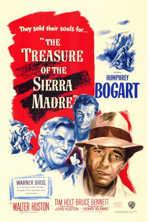 The Treasure of the Sierra Madre  (1948) P365 Film #320 This film is about two guys down on their luck in Mexico who meet a prospector and the three of them decide to go mine for gold in the nearby mountains. It's a western, but without so much focus on cowboys and gunfights. Personally, I wasn't all that interested in the story, but it was certainly well-made. Humphrey Bogart played a bit of different character than usual, which was nice to see. The whole thing was a nice comment on gold and money and how it leads to greed and paranoia.