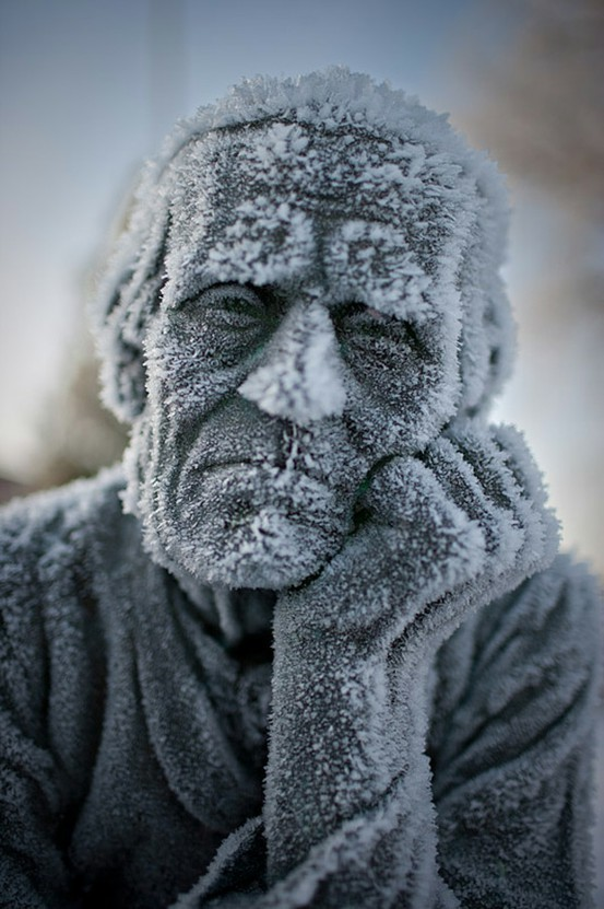 Incredibly beautiful capture of a frozen statue by photographer Miika Järvinen
