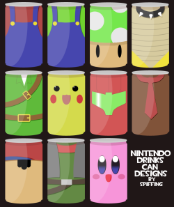 I WANTS THEM ALL insanelygaming:  Nintendo Drink Can Designs - by spiffing