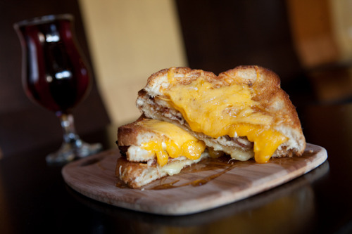 """The BB Grilled Cheese: 4x4, Cheddar, Asiago, Gruyere, Goat Cheese, Smoked Applewood Bacon, Maple Syrup"""