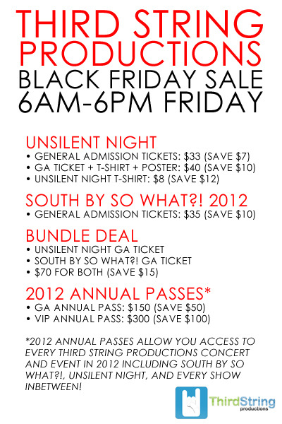 Don't miss out on the biggest sale we've ever had on UNSILENT NIGHT 4, South By So What?! 2012, and 2012 annual passes!