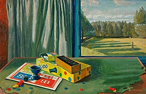 Charles Mahoney Still Life with Board Games and Landscape 1959