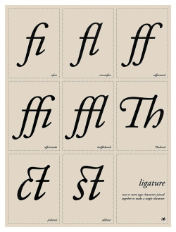 "weandthecolor:  Ligature Typographic poster design by Tom Davie. ""Typographic education poster that displays a collection of Oldstyle serif ligatures (connected letterforms)."" More typography inspiration. posted byW.A.T.C. // Facebook // Twitter // Google+"