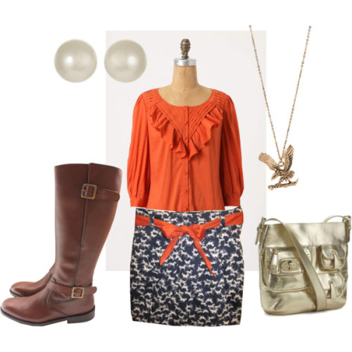 Iron Bowl Outfit 1 by skgiffard featuring printed skirtsButton up blouse, $60Barbour brown boots, £270Kenneth Jay Lane south sea pearl earrings, $20Forever21 long necklace, $3.80